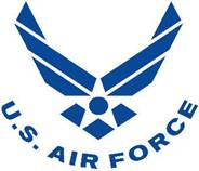 Air Force symbol, curved text, blue